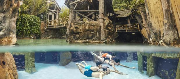 Familie taucht im Wasser