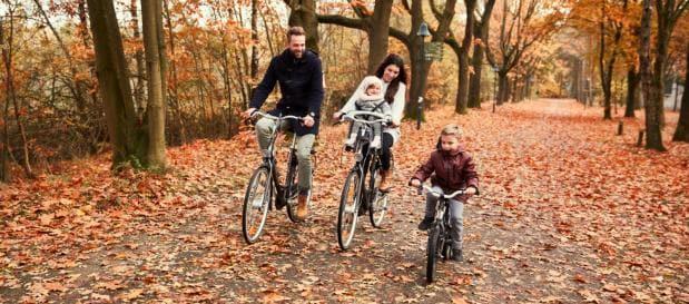 Najaar familie fietsen bladeren